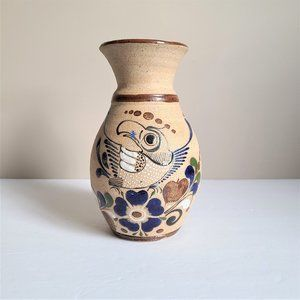 Vintage Ceramic Vase with Bird and Flower Motif.